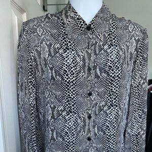 INC black and white print silk blouse